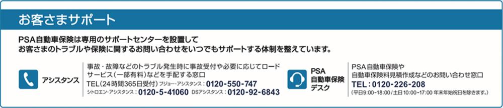 お客様サポート プジョー自動車保険は専用のサポートセンターを設置して、お客様のトラブルや保険に関するお問い合わせをいつでもサポートする体制を整えています。/プジョー?アシスタンス 事故?故障などのトラブル発生時にお電話1本で事故受付や必要に応じてロードサービス(一部有料)などを手配する窓口 TEL:0120-550-747(24時間365日受付) /プジョー?シトロエン保険デスク プジョー自動車保険や自動車保険料見積作成などのお問い合わせ窓口 TEL:0120-226-208(平日9:00-18:00 / 土日10:00-17:00 年末年始祝日を除く)