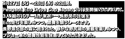 9月27日(火)~28日(水)の2日間、Peugeot Eco Drive Cup Japan 2011を開催いたしました。3人1組の10チームが東京←→長野間の往復をEco走行を楽しみつつ、燃費を競うレースです。長野県北部の森に囲まれた、静かな野尻湖の景観を楽しみつつ、プジョー車の燃費性能を体感していただきました。