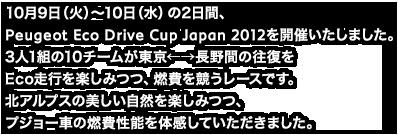 10月9日(火)~10日(水)の2日間、Peugeot Eco Drive Cup Japan 2012を開催いたしました。3人1組の10チームが東京←→長野間の往復をEco走行を楽しみつつ、燃費を競うレースです。北アルプスの美しい自然を楽しみつつ、プジョー車の燃費性能を体感していただきました。